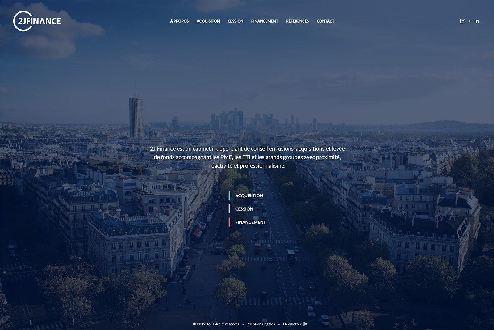 Capture du site internet 2J Finance