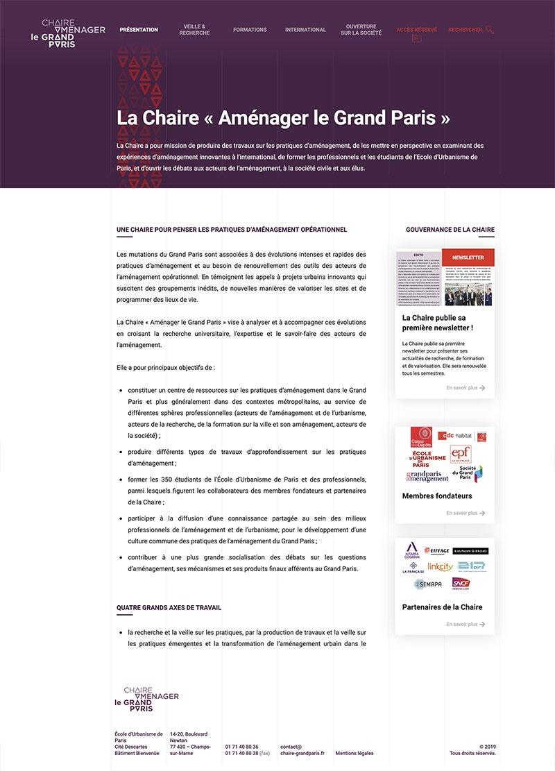 Page de présentation du site de la Chaire