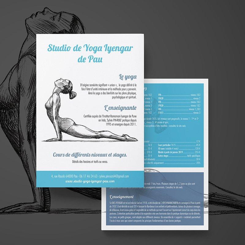 Flyer recto verso d'un cours de yoga