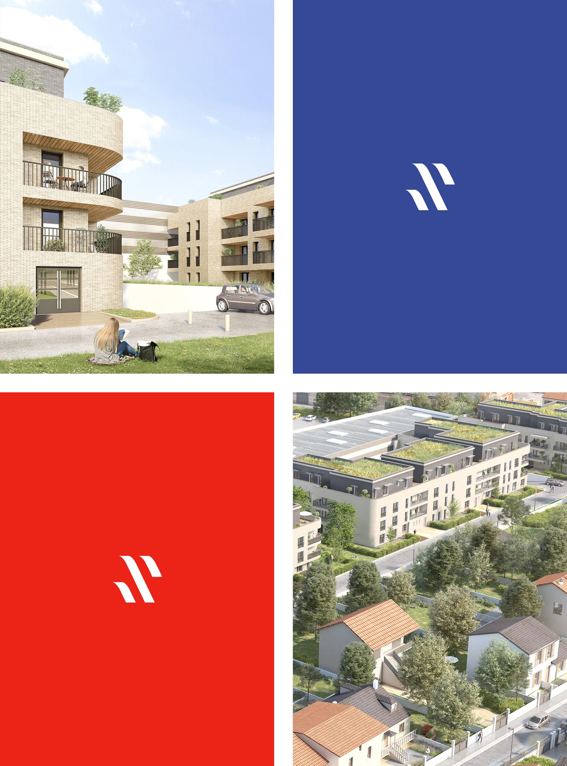 Pictogramme du logo et photos d'architecture