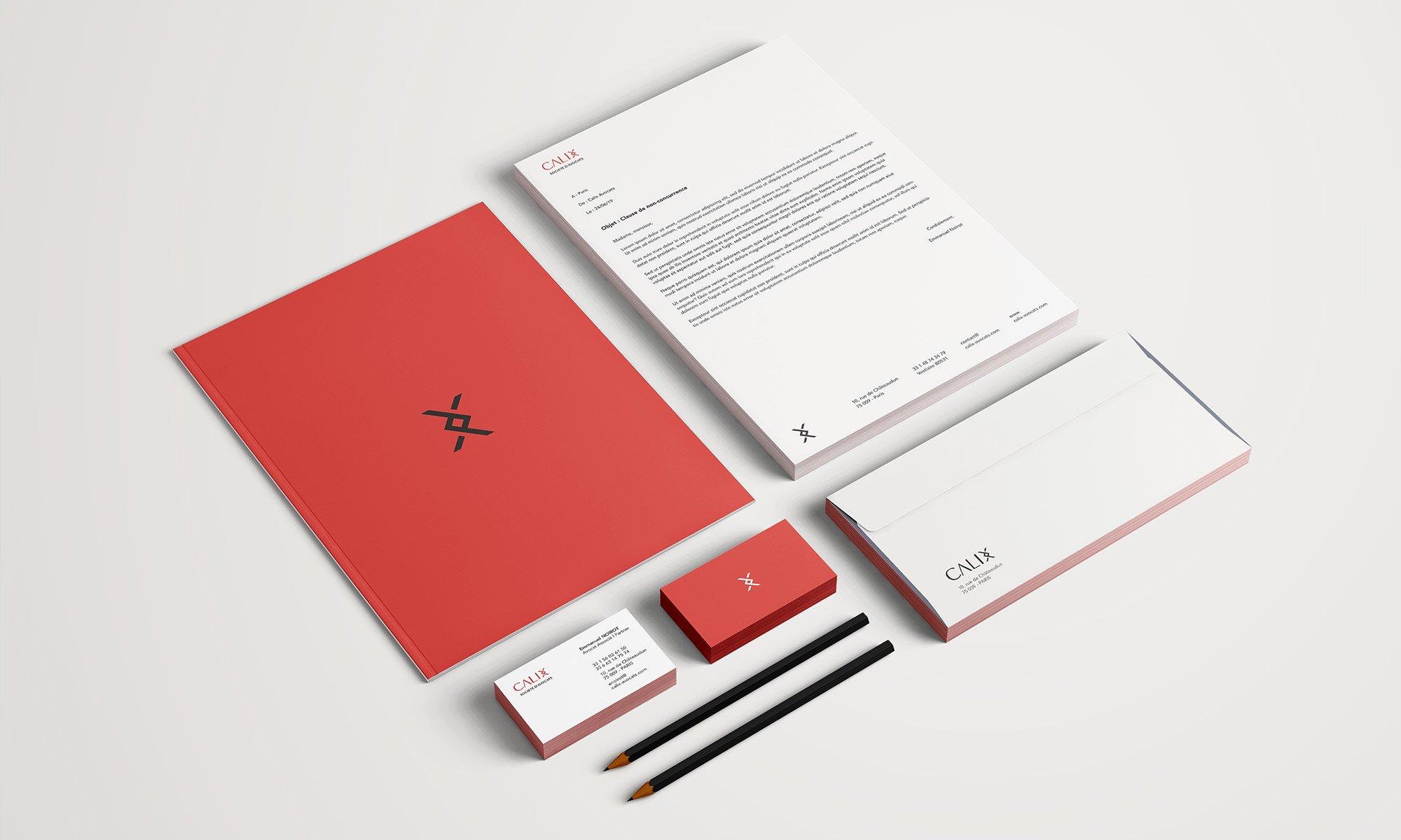 Papeterie du cabinet (cartes de visite, enveloppes, entête)