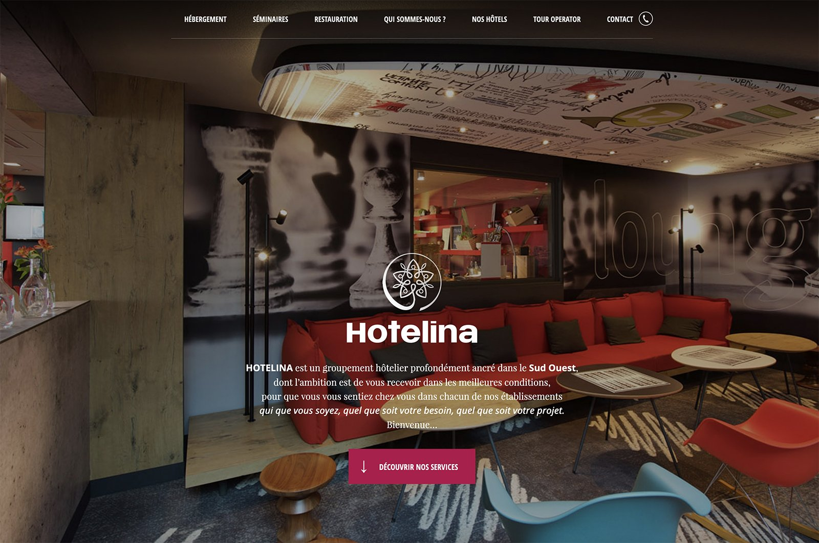Capture du site internet Hotelina