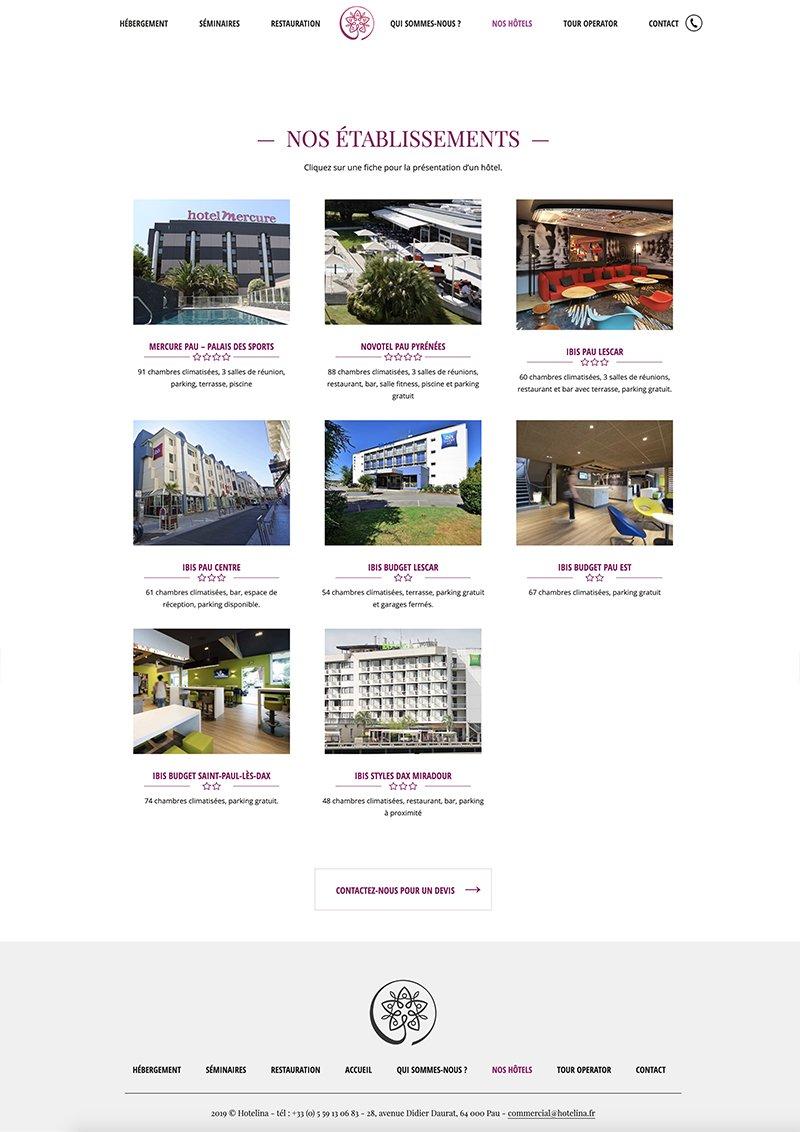 Captude de la page Nos hôtels