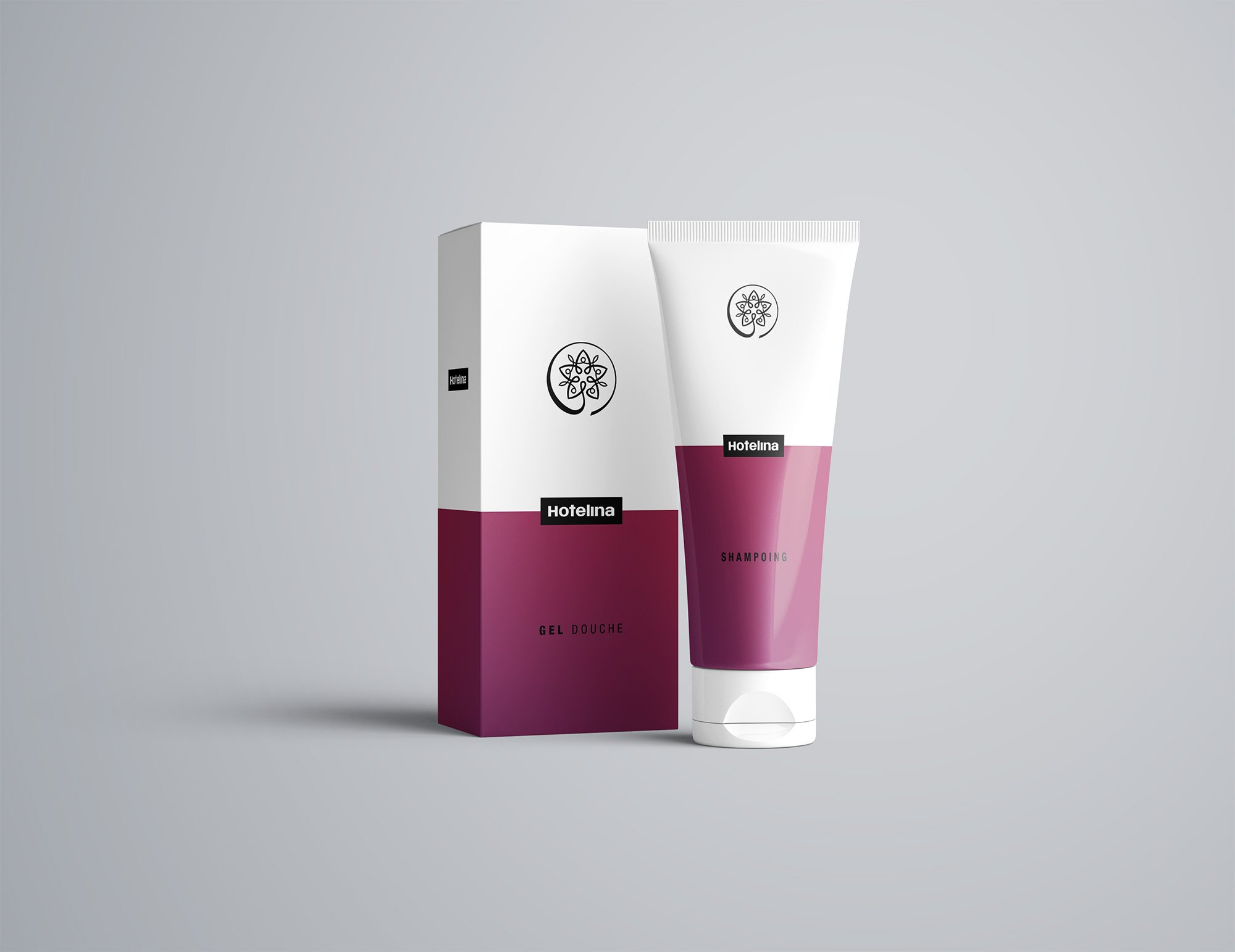 Packaging gel douche shampoing, hotel