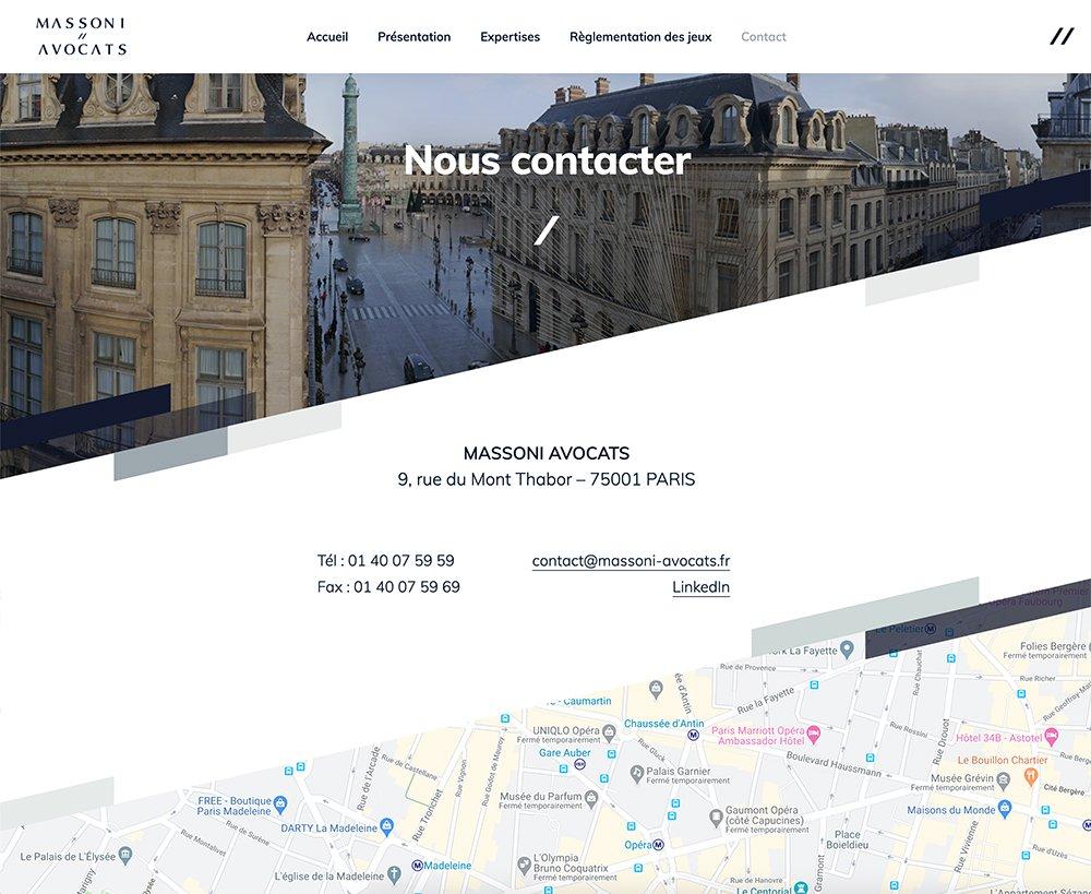 Page de contact du site
