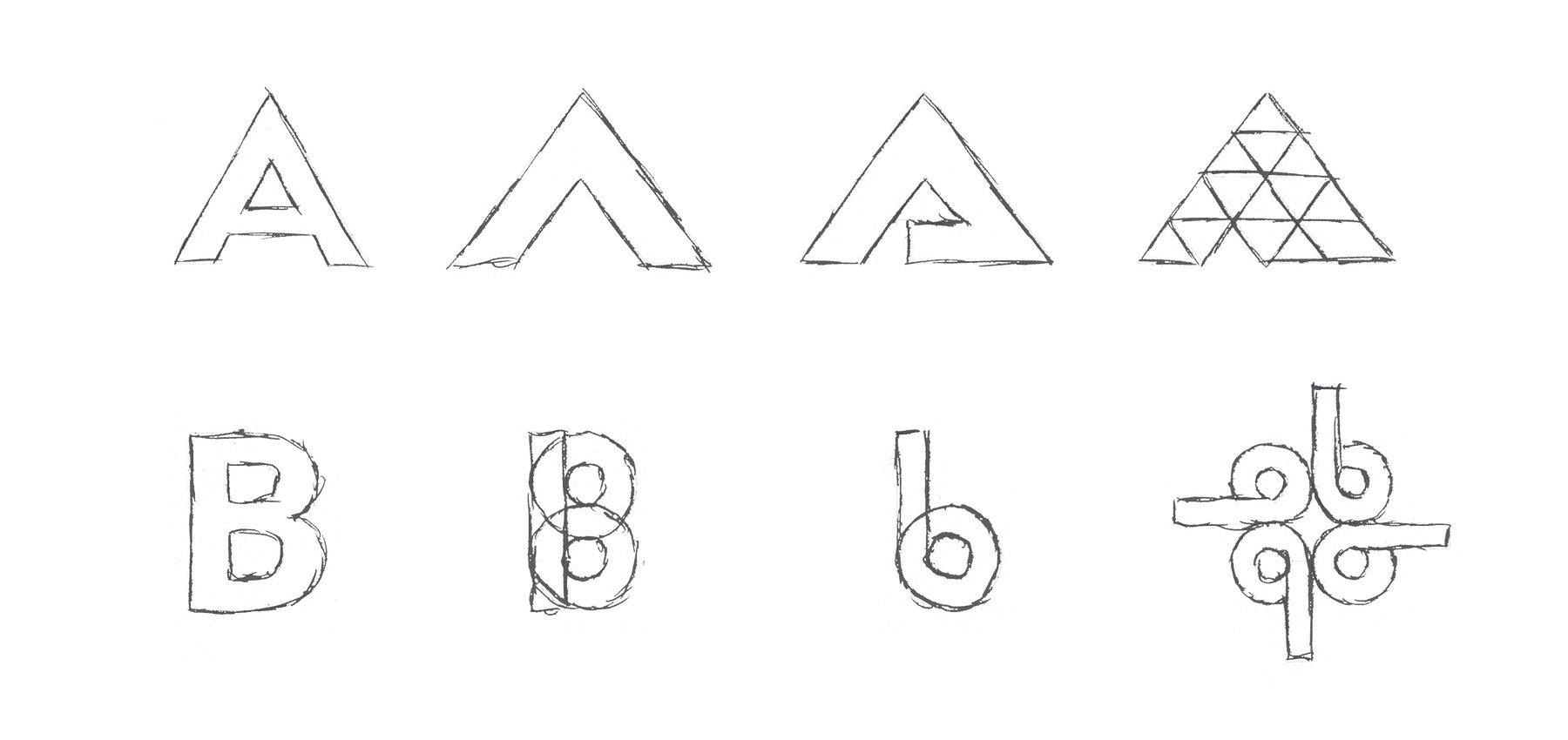 Croquis de 2 concepts de logo fictifs