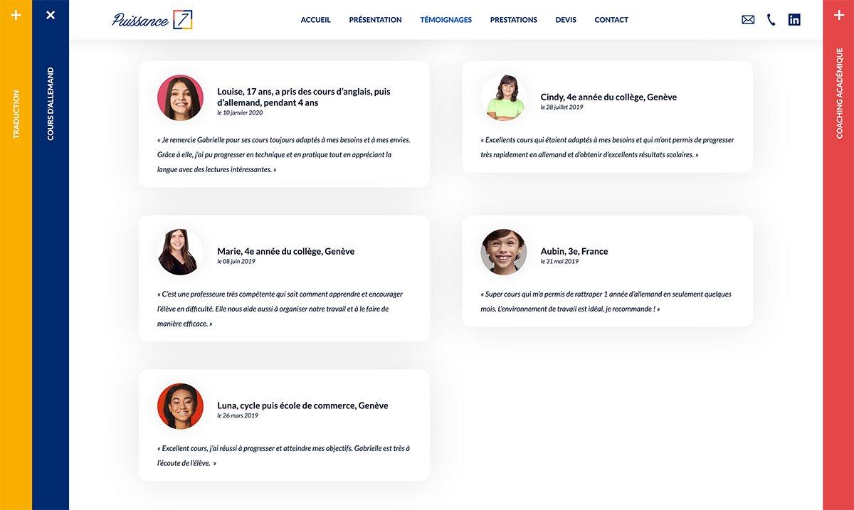 Exemples de témoignages présents sur le site