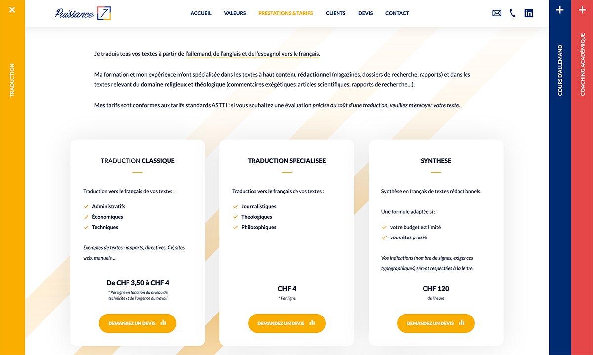 Page présentant les tarifs de traduction