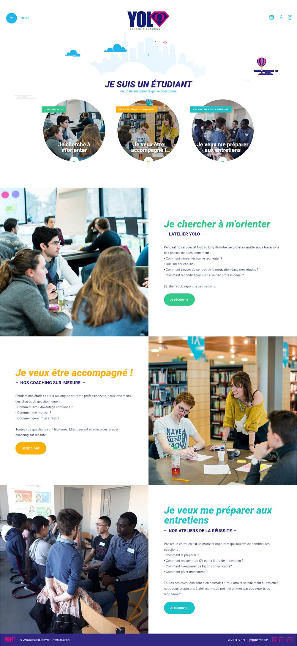 Page étudiants du site web