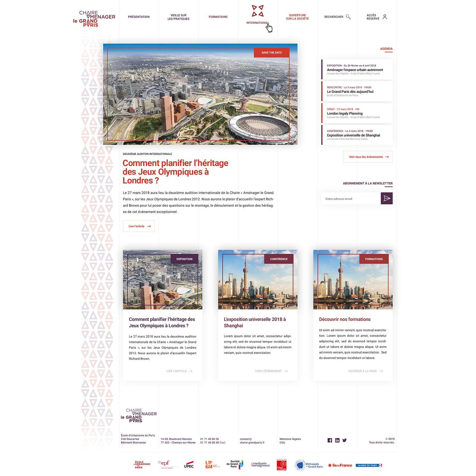Capture du site internet Chaire Aménager le Grand Paris