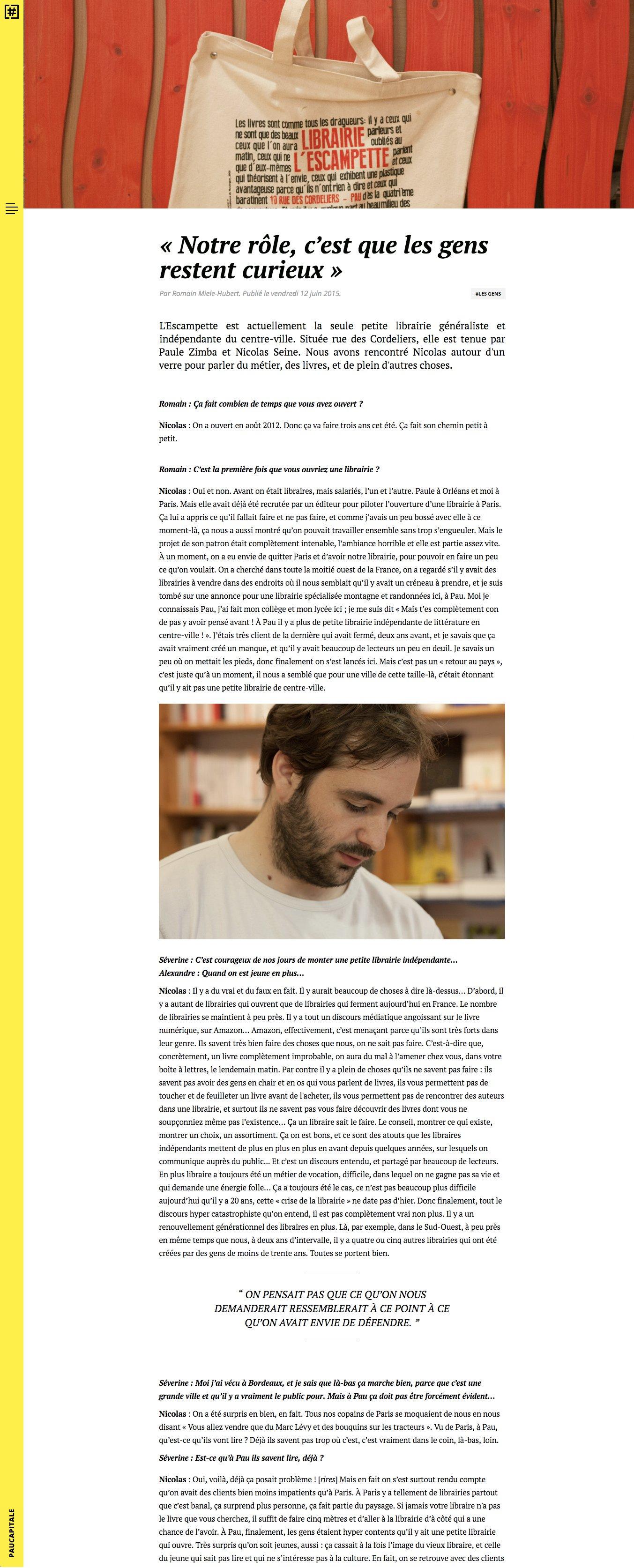 Capture d'écran d'une page d'interview